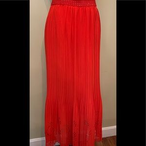 MAGIC Long red skirt Eyelet bottom Size M